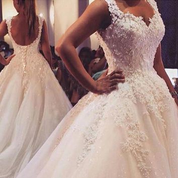Ball Gown Real Images Vestido De Novia Tulle Wedding Dress 2017 with Pearls Bridal Dresses Robe de Marriage Wedding Gowns