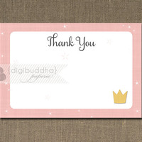 Princess Thank You Card INSTANT DOWNLOAD Shabby Chic Pink Star Burst Crown Tiara Sparkle Birthday 4x6 Note DIY Digital or Printed - Lillian