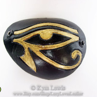 Eye of Horus Eye Patch, Black Leather, Gold Eye of Ra, Egyptian Cosplay, LARP Eyepatch, Luck Charm, Protection and Wealth, Leather Eye Patch