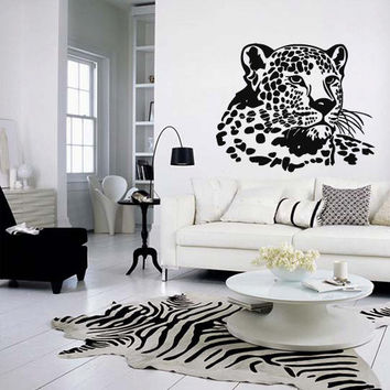 Wall decal vinyl art decor sticker design wild cat panther leopard puma jaguar lion animal speed living room mural (m1049)