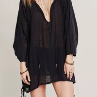 Black V-neck Tied Side Long Sleeve Textured Blouse