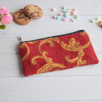 Red pencil case, Pencil Pouch, Cosmetic pouch, Make Up Pouch, Charger bag, Project bag, Travel bag, Bridesmaid gift, Bridal purse