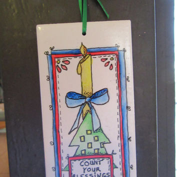 Folk Art Pen and Ink Hand Painted Christmas 4 by 4 and 3 by 6 Inch Ceramic Tiles