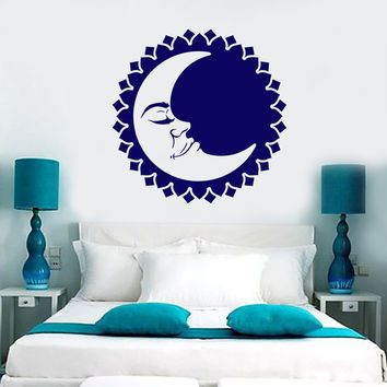 Vinyl Wall Decal Sun Moon Face Day Night Sleep Bedroom Decor Stickers (2120ig)