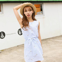 Lolita navy stripe flower embroidery bowknot dress from Sweetbox Store