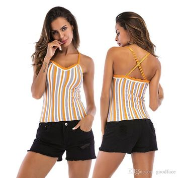 Summer V Neck Tank Tops Stylish Striped Cross Strips Backless Vest Blouse Women Fashion Tees