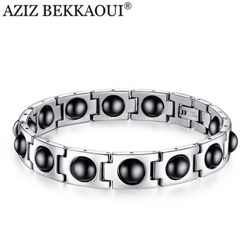 AZIZ BEKKAOUI Men's Health Bracelets & Bangles Magnetic H Power Stainless Steel Personalized Named ID Bracelet Hologram Bracelet