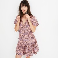 Button-Front Tiered Dress in Oasis Palms : shopmadewell casual dresses | Madewell