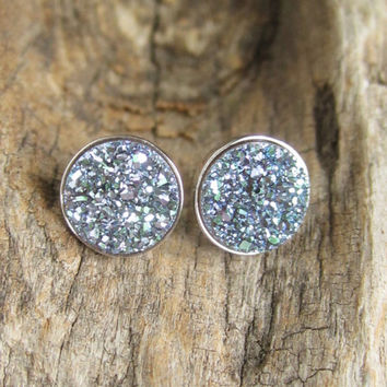 NEW Druzy Earrings Titanium Druzy Quartz Druzy Studs Sterling Silver Bezel Set Rhodium Plated