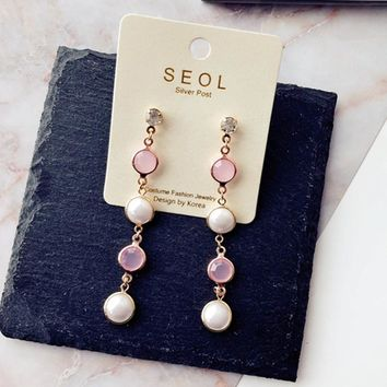 Half Round Pearl Long Drop Earrings