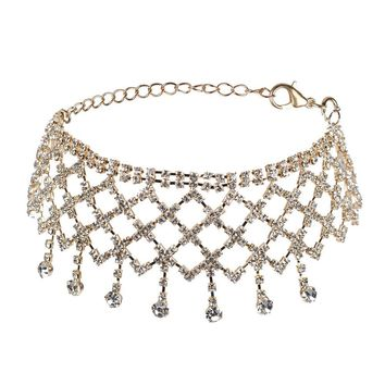 Gothic Punk Crystal Rhinestone Golden Chain Necklace Choker Collar