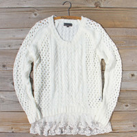 Marlow Lace Fisherman's Sweater in Cream