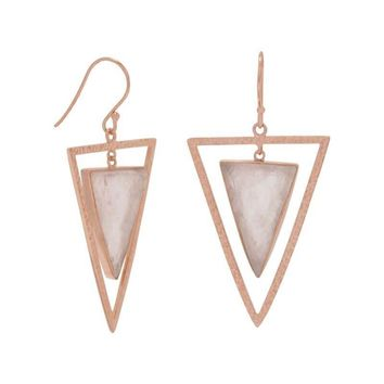 14K Rose Gold Plated Rose Quartz Triangle Earrings