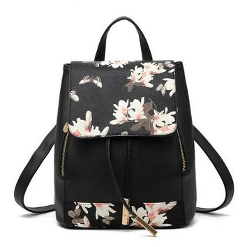 School Backpack Herald Fashion Preppy Style  Artificial Leather Women Shoulder Bag Floral School Bag for Teens Girls AT_48_3
