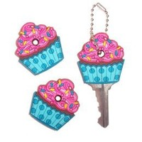 3 pc Gift Set - Cupcake Key Cover / Key Cap / Key Chain