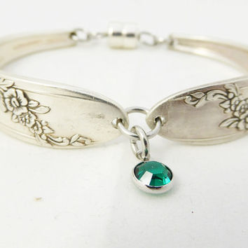 Spoon bracelet, Queen Bess 1946, silverware jewelry, birthstone charm, choice, free gift box, graduation, birthday, Mother's day gift