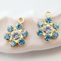 Swarovski Crystal Light Sapphire Clear Rhinestones Flower Drops Charms (2)