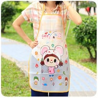 Cute Aprons waterproof PE apron Kawaii Cat Smile Face Lovely Girl Anti-oil Apron Cartoon Kitchen Aprons for women&girls