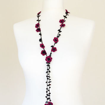 Crochet Lariat Necklace Oya Plum Burgundy Flowers Beadwork Necklace Beaded Lariat Jewelry, Beadwork, ReddApple, Gift Ideas
