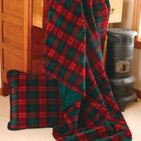 Classic Plaid Double Thickness Microplush Throw and Optional Pillows