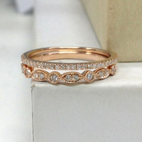 Diamond Wedding Ring Set!Engagement ring 14K Rose Gold,Milgrain Half Eternity Band,Diamond Matching Band,Anniversary Ring,Art Deco Antique