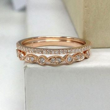 style wedding eternity jewelry bands stacking diamond products earth rare design gold ring yellow with band leaf antique or bridal and milgrain vintage pattern
