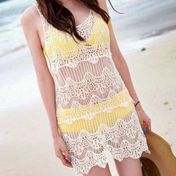 Women Sexy Lace Hollow Crochet Swimwear Bikini Cover Up Beach summer dress