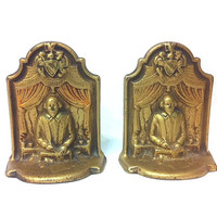 Antique Metal Bookends William Shakespeare Bookends Cast Iron Bookends English Literature Merchant of Venice Hamlet Macbeth Poet