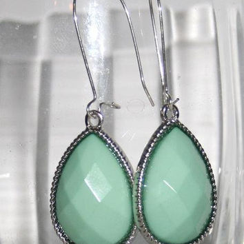 Seafoam Mint Teardrop Earrings, Faceted pale Mint Blue Drop Earrings, Funky Bold Fashion Jewelry, Every Day Wear
