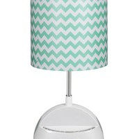 LighTunes LS1000-ACV-BT  Bluetooth Speaker Lamp with Alarm Clock, FM Radio, and USB Charging Port, Aqua Chevron Shade