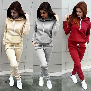 fef048537 Brand New 2 Piece Set Women Hoodies Pant Clothing Set Warm Newest Clothes  Ladies Solid Tracksuit