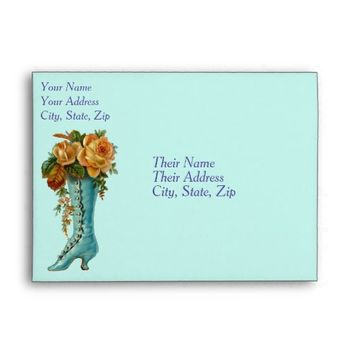 Aqua Vintage Boot With Rose Flowers Envelopes