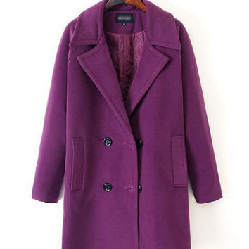 Long Sleeve Notched Collar Button Woolen Coat