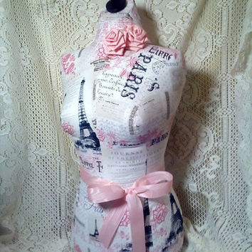 French Boutique Dress form mannequin female torso, craft show, booth, store front, jewelry display, photo prop, clothing, Eiffel Tower print