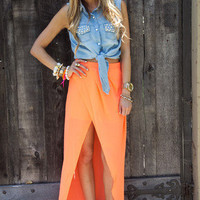 TULIP CHIFFON SKIRT WITH SHORTS - Neon Orange