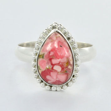 Rhodonite Gemstone 925 Sterling Silver Ring