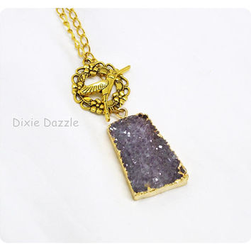 Amethyst drusy front closure necklace, fancy hummingbird clasp, real stone druzy, amethyst necklace, purple, February birthstone