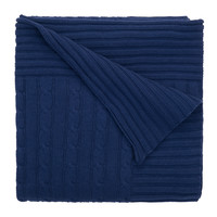 Classic Cotton Cable Knit Blanket (Navy)