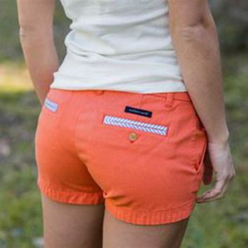 Southern Marsh Brighton Seersucker Chino Shorts in Coral BBCS-CRL