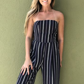 No More Sad Songs Jumpsuit- Navy