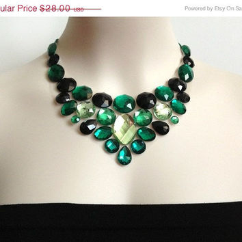 ON SALE emerald bib necklace - rhinestone emerald green black an 1608fb884f