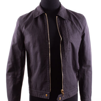 Black Cotton Zip-Front Jacket with Pointed Collar
