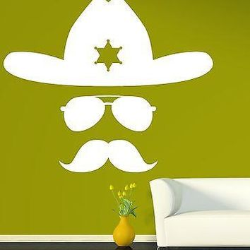 Wall Vinyl Sticker Decal Abstract Sheriff Hat Glasses Mustache Cop Image Unique Gift (n305)
