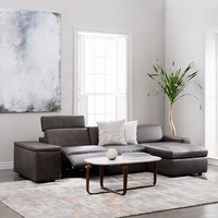 Enzo Leather Reclining 3-Seater Sectional with Storage Chaise