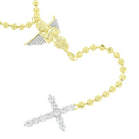 New Rosary Cross Angel Pendant 14K Gold Over Sterling Silver Lab Create Diamond