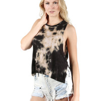 The Classic by DREAM SUPPLY - Vintage Tie Dyed Tank Tunic, Side Slit Tank Top