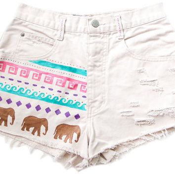 Tribal/Aztec Elephant and Waves Shorts, Hand Painted, Vintage Distressed High Waisted Denim, Upcycled W28