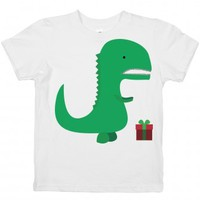 Sad Dino(kids)-Unisex White Youth T-Shirt