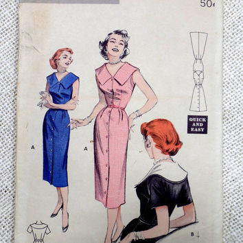Vintage Pattern Butterick 6876 dress sewing Wiggle Dress Shirt Shirtwaist 1950s Bust 32 1950s Rockabilly retro button down large collar