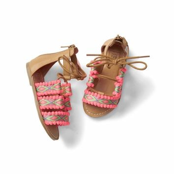 Embroidery lace-up sandals | Gap